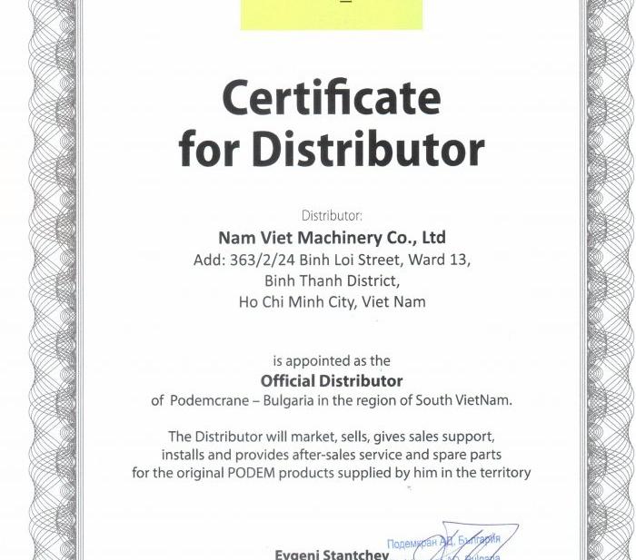 Công ty TNHH Cơ Khí Nam Việt được công nhận là Đại lý chính thức của Podem (crane & hoist) - Bulgaria tại phía nam (Việt Nam)